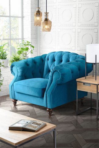 An Image of Buster Armchair Genova Peacock