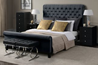 An Image of AMARE Upholstered Bed - Black