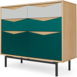 An Image of Louis Wide Chest Of Drawers, Oak & Green