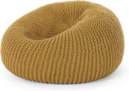 An Image of Aki 100% Wool Knitted Cocoon Bean Bag, Mustard
