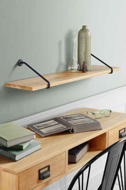 An Image of Felix Industrial Shelf - Solid oak and steel