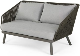 An Image of Alif Garden 2 Seater Sofa, Grey Eucalyptus Wood
