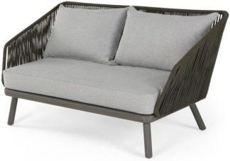 An Image of Alif Garden 2 Seater Sofa, Grey Eucalyptus Wood