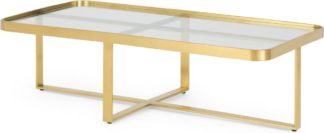 An Image of Aula Rectangular Coffee Table, Brushed Brass & Glass