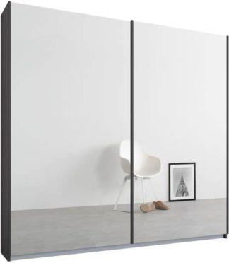 An Image of Malix 2 door 181cm Sliding Wardrobe, Graphite Grey frame,Mirror doors, Standard Interior