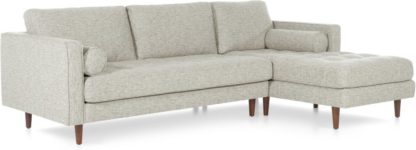 An Image of Scott 4 Seater Right Hand Facing Chaise End Corner Sofa, Grey Basketweave