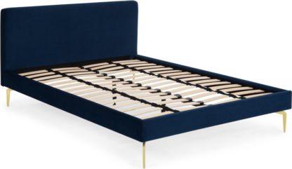An Image of Kida Double Bed, Royal Blue Velvet and Brass Legs