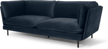 An Image of Wes 3 Seater Sofa, Sapphire Blue Velvet