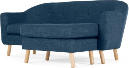 An Image of Lottie Compact Chaise End Sofa, Harbour Blue