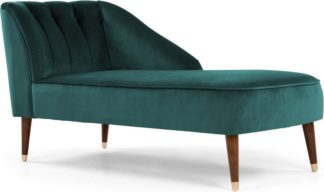 An Image of Margot Right Hand Facing Chaise Longue, Peacock Blue Velvet