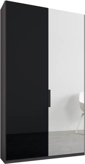 An Image of Caren 2 door 100cm Hinged Wardrobe, Graphite Grey Frame, Basalt Grey Glass & Mirror Doors, Premium Interior