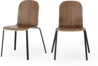 An Image of Set of 2 Universal Dining Chairs, Walnut and Black