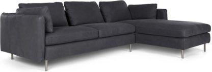 An Image of Vento 3 Seater Right Hand Facing Chaise End Corner Sofa, Grey Leather