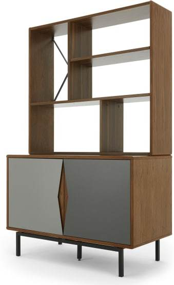 An Image of Louis Highboard, Walnut and Charcoal