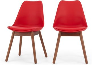 An Image of Set of 2 Thelma Dining Chairs, Dark Stain Oak and Red