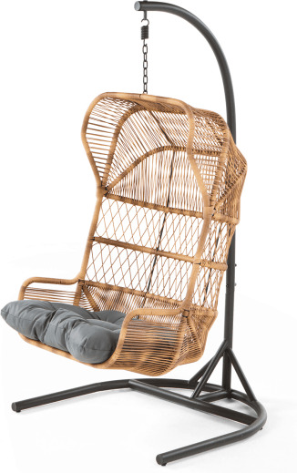 An Image of Lyra Garden Hanging Chair, Charcoal Grey