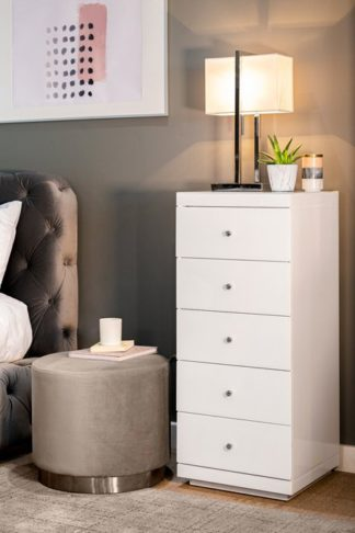 An Image of Pimlico White Glass Tallboy Chest with 5 drawers