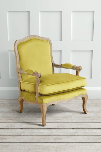 An Image of Le Brun - French Oak Olive Occasional Armchair