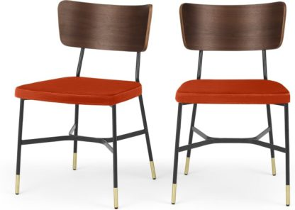 An Image of Set of 2 Amalyn Dining Chairs, Walnut and Flame Orange Velvet