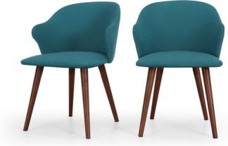 An Image of Set of 2 Sigrid Dining Chairs, Mineral Blue and Walnut