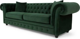 An Image of Branagh 3 Seater Chesterfield Sofa, Pine Green Velvet