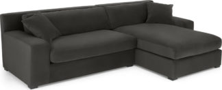 An Image of Delaney Right Hand Facing Chaise End Corner Sofa, Dark Pewter Velvet