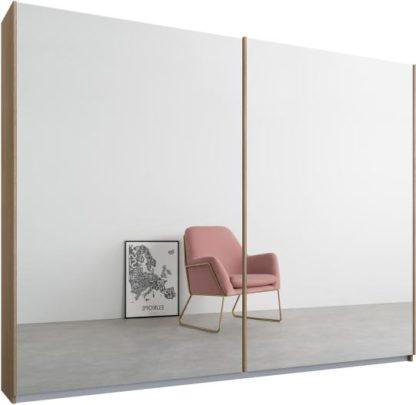 An Image of Malix 2 door 225cm Sliding Wardrobe, Oak frame,Mirror doors, Standard Interior