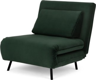 An Image of Kahlo Single Seat Sofa Bed, Autumn Green Velvet