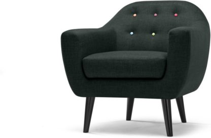 An Image of Ritchie Armchair, Anthracite Grey with Rainbow Buttons