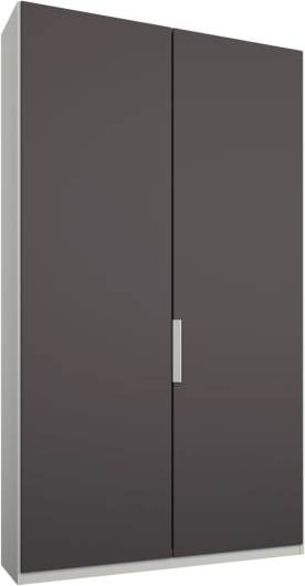 An Image of Caren 2 door 100cm Hinged Wardrobe, White Frame, Matt Graphite Grey Doors, Classic Interior