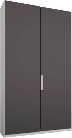 An Image of Caren 2 door 100cm Hinged Wardrobe, White Frame, Matt Graphite Grey Doors, Premium Interior