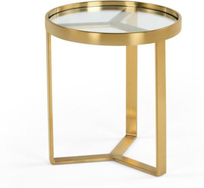 An Image of Aula Side Table, Brushed Brass and Glass