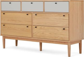 An Image of Campton Wide Multi Chest of Drawers, Oak & Grey