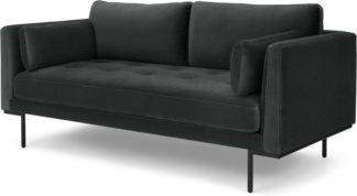 An Image of Harlow Large 2 Seater Sofa, Midnight Grey Velvet