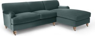 An Image of Orson Right Hand Facing Chaise End Corner Sofa, Marine Green Velvet