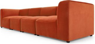 An Image of Juno 4 Seater Modular Sofa, Flame Orange Velvet