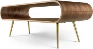 An Image of Hooper Storage Coffee Table, Natural Walnut and Brass