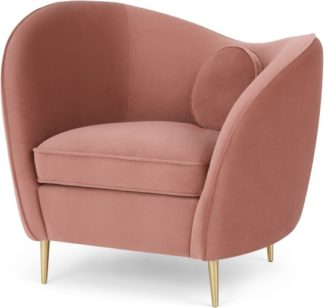 An Image of Kooper Accent Armchair, Blush Pink Velvet
