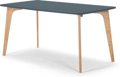 An Image of Fjord 6 Seat Rectangle Dining Table, Oak and Blue
