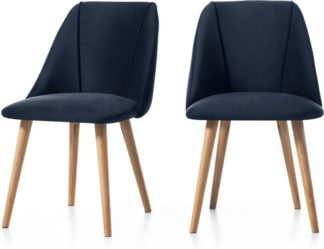 An Image of Set of 2 Lule Dining Chairs, Royal Blue Velvet and Oak