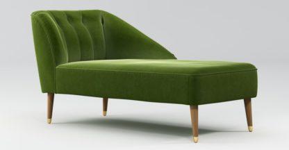 An Image of Custom MADE Margot Right Hand Facing Chaise, Spruce Green Cotton Velvet, Light Wood Brass Leg