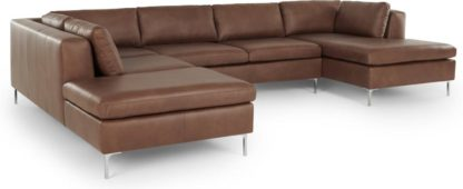 An Image of Monterosso Left Hand Facing Corner Sofa, Walnut Brown Leather