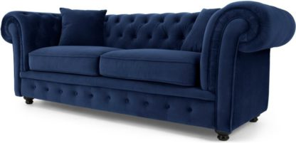 An Image of Branagh 2 Seater Chesterfield Sofa, Electric Blue Velvet
