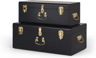 An Image of Gunner Set of 2 Metal Trunks, Matt Black & Brass