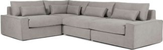 An Image of Trent Loose Cover Corner Sofa, Washed Grey Cotton