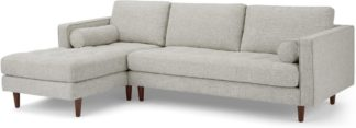 An Image of Scott 4 Seater Left Hand Facing Chaise End Corner Sofa, Ivory Weave