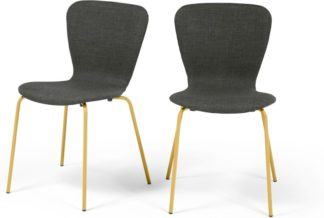 An Image of MADE Essentials Set of 2 Luno Dining Chairs, Grey and Saffron Yellow