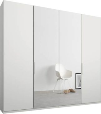An Image of Caren 4 door 200cm Hinged Wardrobe, White Frame, Matt White & Mirror Doors, Standard Interior