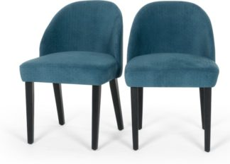 An Image of Set of 2 Alec Dining Chairs, Quilted Blue