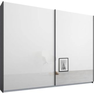 An Image of Malix 2 door 225cm Sliding Wardrobe, Graphite Grey frame,White Glass & Mirror doors , Premium Interior